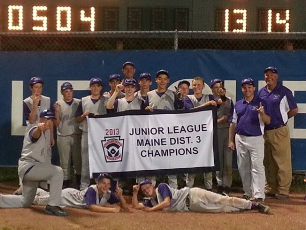 Members of the Bronco Little League Junior League baseball team pose with their coaches after winning the District 3 championship recently. On Sunday, the squad captured the state title at Mansfield Stadium in Bangor. The team represents Hampden, Hermon, Newburgh and Winterport.