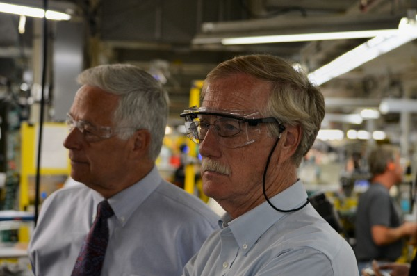 U.S. Sen. Angus King, I-Maine (right) and U.S. Rep. Mike Michaud, D-Maine, tour the New Balance factory in Norridgewock on Monday with U.S. Trade Representative Michael Froman.