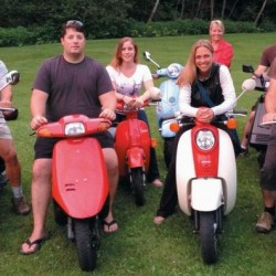Scooter rally supporters include, from left, Ron Riendeau, Keith Biedrzycki, Emily Biedrzycki, Jessica Sherlock, Dot Riendeau, Andy Biedrzycki and Chris Biedrzycki.