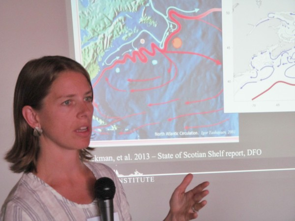 Heather Deese of the Island Institute discusses oceanographic changes in the Gulf of Maine during a Wednesday morning panel discussion in Portland. The Island Institute hosted a two-day &quotClimate of Change&quot conference to discuss how climate change is affecting New England fisheries.