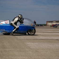 Record-holding motorcycle racer crashes bike while attempting 300 mph at Loring