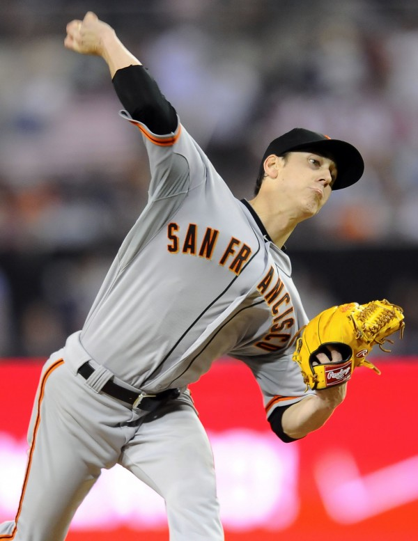 San Francisco Giants starting pitcher Tim Lincecum (55) throws during the eighth inning against the San Diego Padres Saturday night at Petco Park in San Diego. Lincecum went on to record a no-hitter in the Giants' 9-0 win.