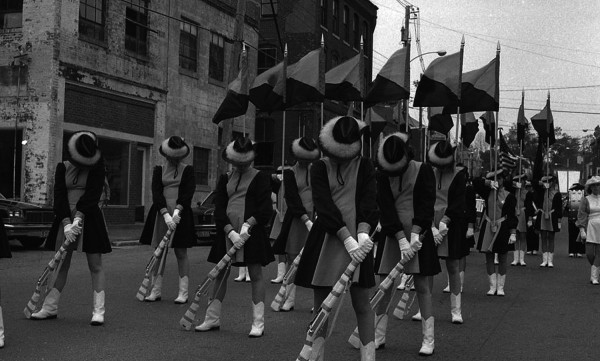 Photojournalist Richard Norton took this photo of a drill team marching in a parade in downtown Belfast sometime in the 1970s or 1980s.