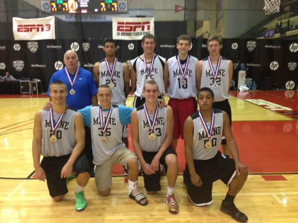 Members of the Maine Athletic Club's U17 AAU basketball team pose with their medals after beating Maryland's Finest on Tuesday in the championship game of the silver bracket  at the AAU boys 11th-grade national Supershowcase basketball tournament in Orlando, Fla. Pictured are (front, from left): Kyle Bouchard (Houlton), Cam Scott (Hampden), Zach Gilpin (Hampden), Xavier Lewis( Bangor) and (back row, from left) coach Carl Parker, Andrew Middleton (Edward Little), Mike McDevitt (Greely), Andrew Cartwright (Nokomis) and Justin Rogers (Falmouth).