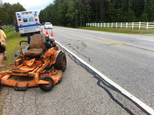 A man driving this lawn mower was injured when he was hit by a van Sunday.