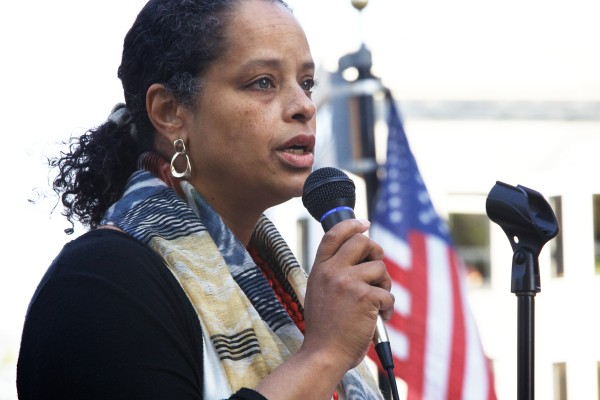 Rachel Talbot Ross of the NAACP Portland branch speaks in Portland's Monument Square Monday afternoon during a memorial service and rally for Trayvon Martin.
