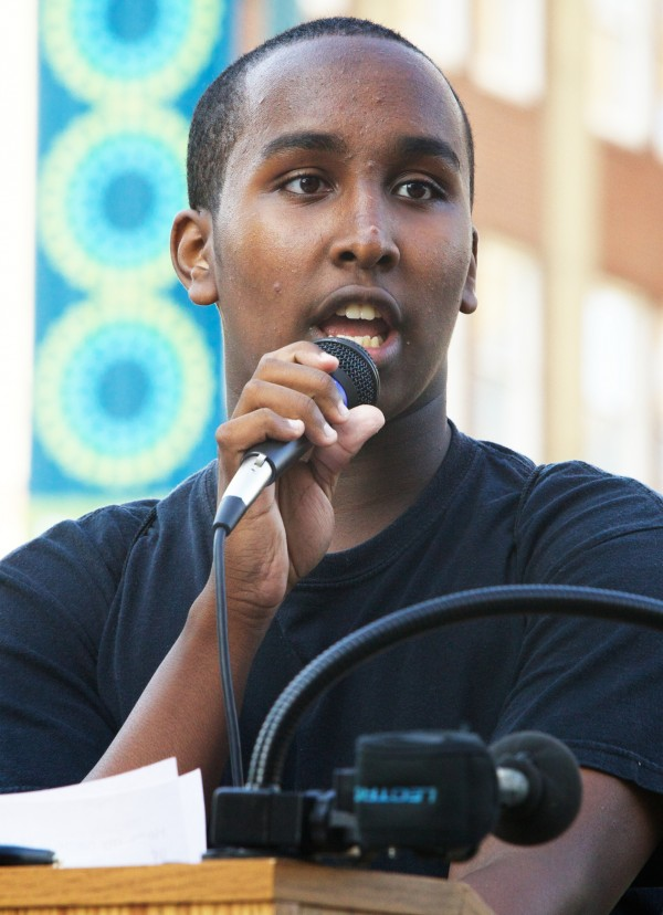 Mohamed Noor speaks in Portland's Monument Square Monday afternoon during a memorial service and rally for Trayvon Martin.