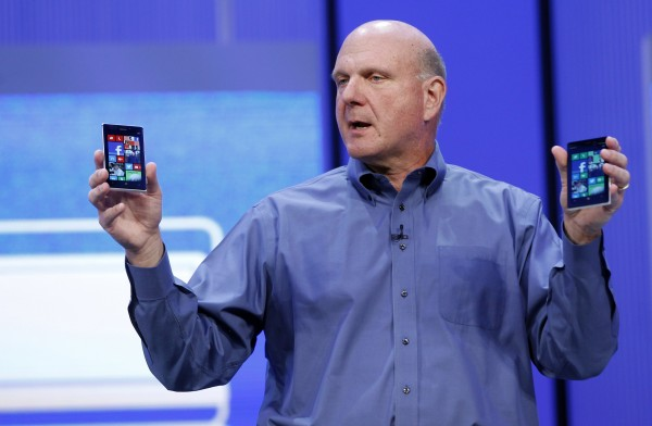 Microsoft CEO Steve Ballmer displays Windows phones during his keynote address at the Microsoft &quotBuild&quot conference in San Francisco, California June 26, 2013.