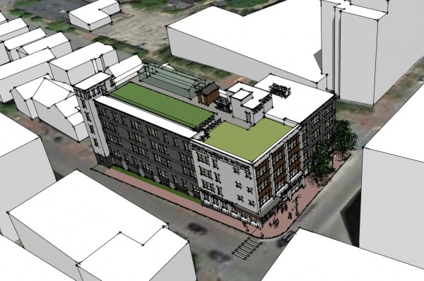 A CWS Architects rendering depicting a housing development Portland-based nonprofit Avesta Housing hopes to construct at 409 Cumberland Ave. The project is proposed to include 57 units of affordable and market rate housing.