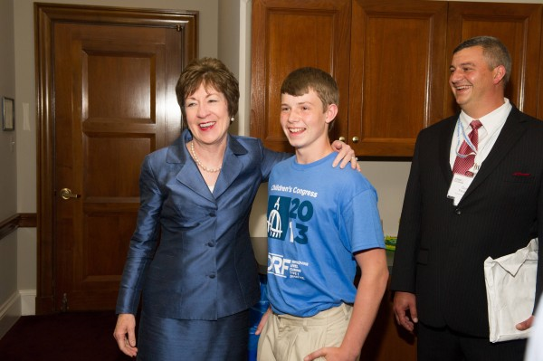 Sen. Susan Collins stands with Quinn Ferguson prior the hearing on July 10 of the Senate Special Committee on Aging designed to explore the impact of Type 1 diabetes on patients, recent medical advances and federal funding for research.