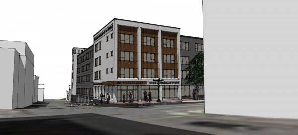 A wide shot of the CWS Architects rendering of the housing development  Avesta Housing hopes to construct.