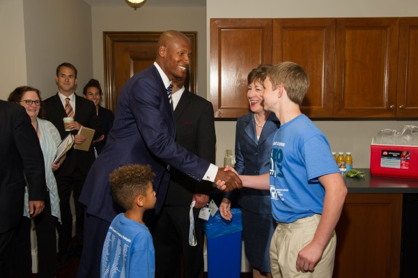 Quinn Ferguson meets former Boston Celtics guard Ray Allen. Both testified on July 10 at a hearing of the Senate Special Committee on Aging designed to explore the impact of Type 1 diabetes on patients, recent medical advances and federal funding for research.