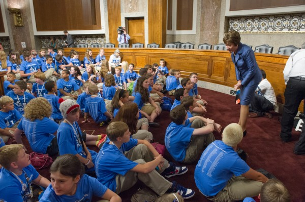 Sen. Susan Collins greets delegates from the JDRF's Children's Congress. On July 10, there was a hearing of the Senate Special Committee on Aging designed to explore the impact of Type 1 diabetes on patients, recent medical advances and federal funding for research.