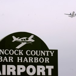 A plane takes off from Hancock County-Bar Harbor Airport in Trenton in 2011.