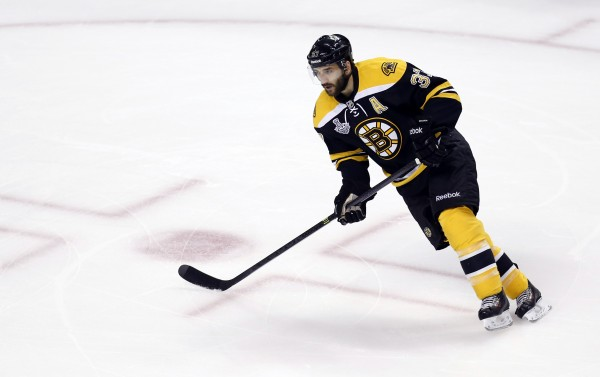 Boston Bruins center Patrice Bergeron (37) warms up before game six of the 2013 Stanley Cup Final against the Chicago Blackhawks at TD Garden in this June 2013 file photo.