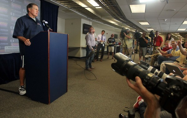 New England Patriots head coach Bill Belichick addresses the media during a press conference Wednesday at Gillette Stadium in Foxoborough, Mass.