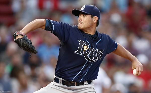 Tampa Bay Rays starting pitcher Matt Moore (55) delivers a pitch against the Boston Red Sox during the first inning of Monday night's game at Fenway Park. The left-hander two-hit Boston in a 3-0 victory.