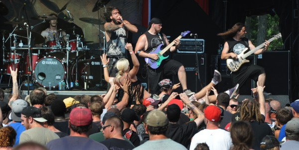 Heavy metal fans dance and crowd surf to the sounds of the heavy metal band,  Job For A Cowboy, during the RockStar Energy Drink Mayhem Festival in Bangor on Wednesday.