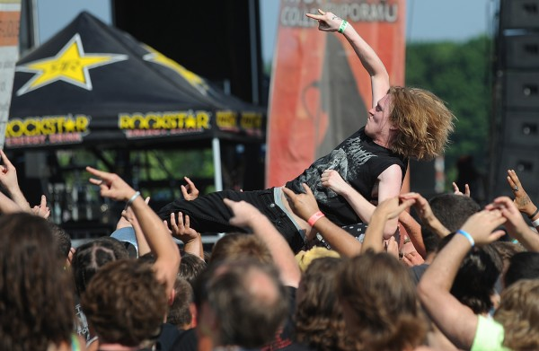 A heavy metal fan rides the crowd during the RockStar Energy Drink Mayhem Festival in Bangor on Wednesday.
