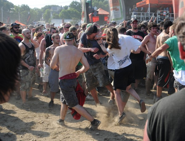 The mosh pit at the RockStar Energy Drink Mayhem Festival in Bangor was filled with dusty metal fans pushing, shoving and throwing punches on Wednesday as over a dozen metal bands performed.