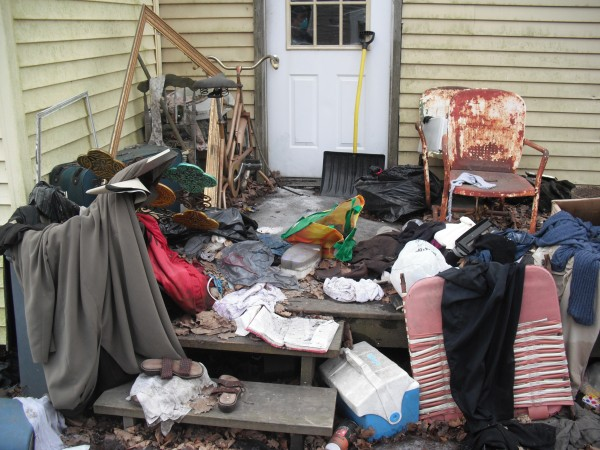 The back entryway to 8 East Summer St., a Brewer home that was deemed a health hazard by a judge in June and was demolished by the city on Monday, July 29, 2013.