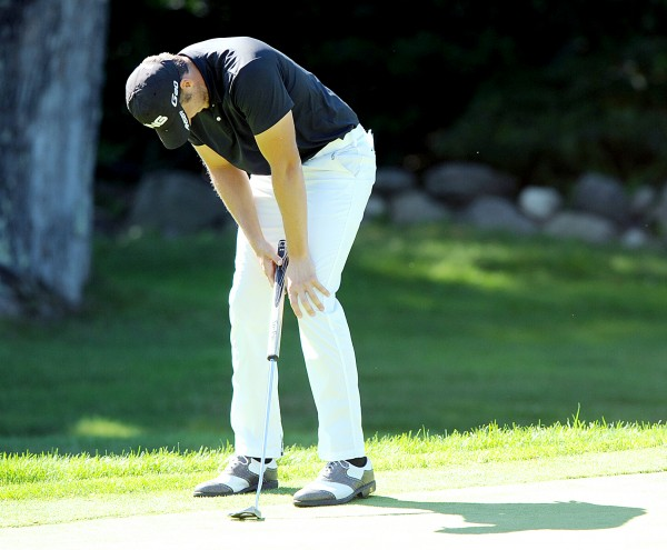 Bangor native Jesse Speirs reacts to a missed birdie putt on the back nine during the 95th Charlie's Maine Open at Augusta Country Club on Tuesday. Speirs finished in a tie for second, one stroke behind winner Evan Harmeling.