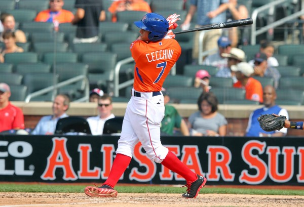 Garin Cecchini hits a RBI double during the 2013 All Star Futures Game at Citi Field. USA defeated World 4-2.