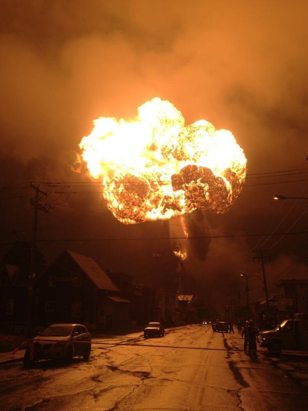A train carrying petroleum derailed and exploded in Lac-Megantic, Quebec, early Saturday. Approximately 30 buildings in the town were destroyed.