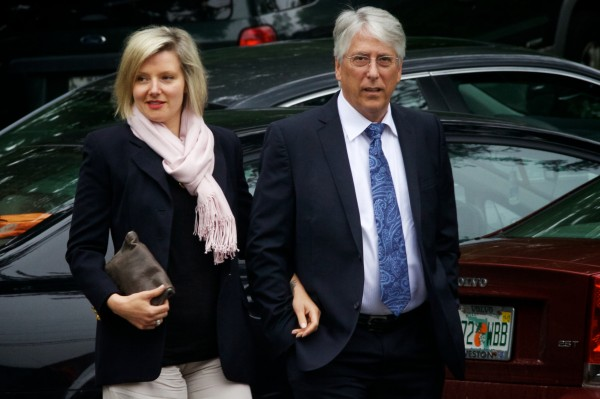 Maine businessman Les Otten and girlfriend Veronica Cross arrive Tuesday at the Nonantum Resort in Kennebunkport for a Paul LePage re-election fundraising event featuring keynote speaker Jeb Bush.