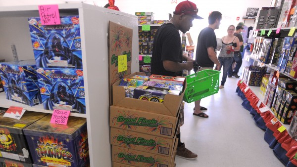 The Maine Fireworks store in Brewer was very busy Wednesday afternoon.