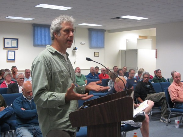 Peter Proeller of West Meadow Road in Rockland was one of many residents who turned out Wednesday night to speak out against a proposed rural residential zoning package.