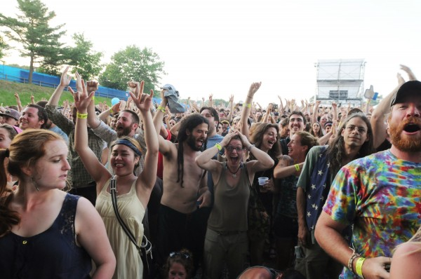 -The crowd reacts as Phish takes the stage at the Darling's Waterfront Pavilion on Wednesday.