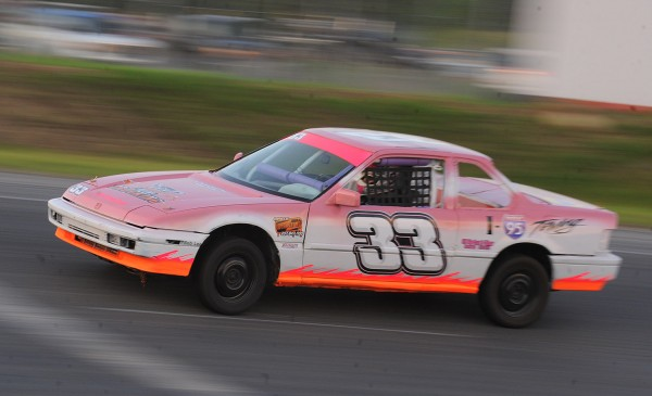 Amy Houde of Enfield drove her car to victory Wednesday in the Ladies Division feature race at Speedway 95 in Hermon.