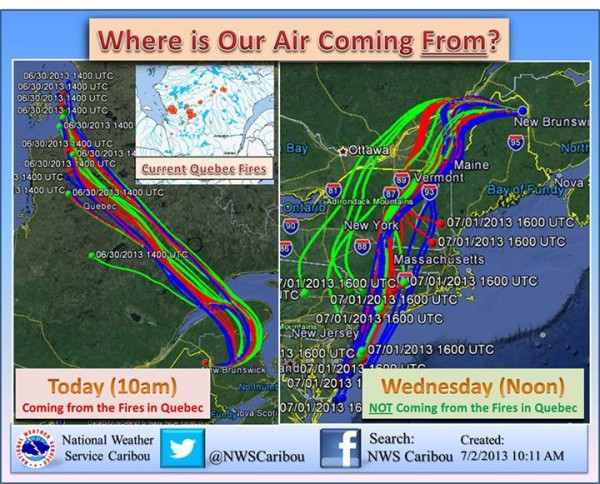 A model created by the U.S. National Weather Service Caribou, Maine, showing where the current air is coming from.