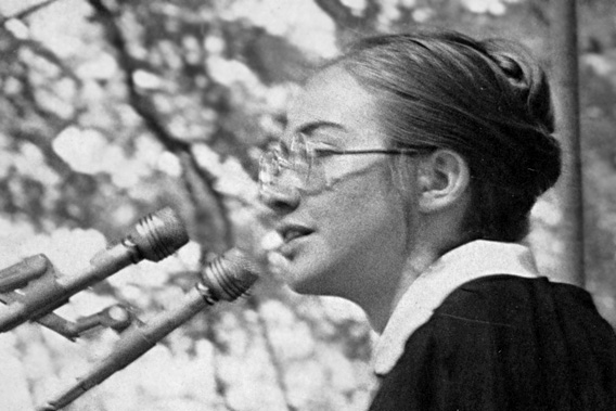 Hillary Rodham speaks at Wellesley College in 1969.