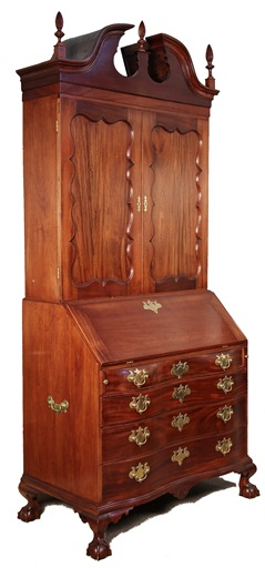 Fine 18th Century Boston Chippendale mahogany secretary-desk that will be sold in Thomaston Place Auction Galleries August 24 & 25 auction