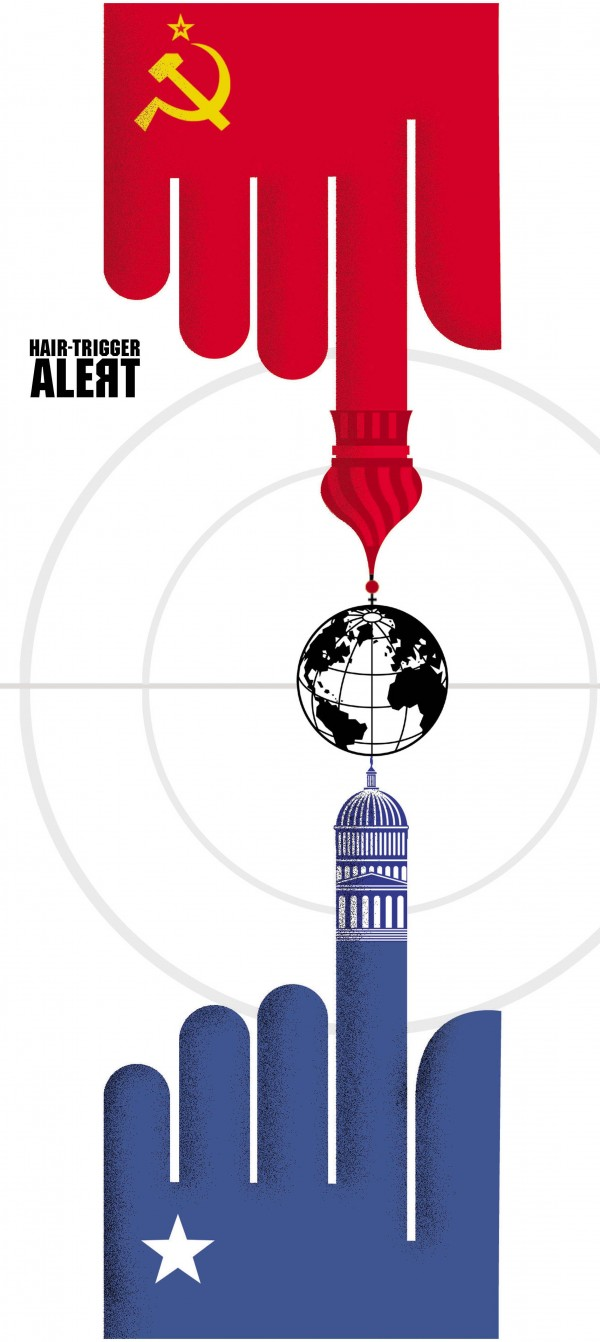 Ana Lense Larrauri color illustration of U.S. and Russia balancing earth on a hair trigger target.