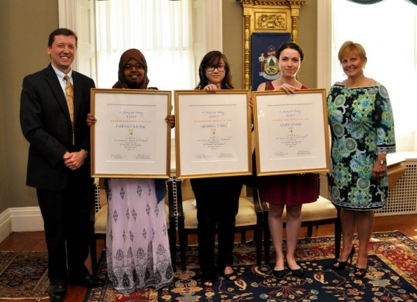 Maine Commissioner of Education Stephen Bowen, (left) Fadumo Musse, Arianna Tang, Emily Evans, First Lady Ann LePage.