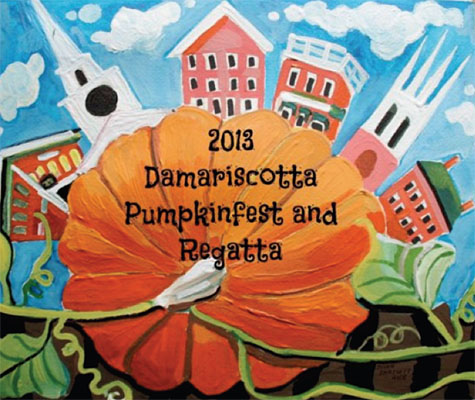 The winning design for the 2013 Pumpkinfest & Regatta T-Shirt, by Walpole artist Susan Bartlett Rice.