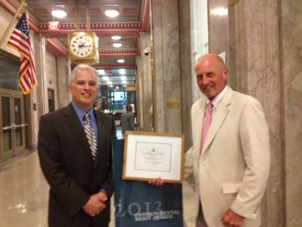 Jeff Seyler, President & CEO, (left) and Ed Miller, Senior Vice President of Public Policy, in Boston after accepting EPA Region 1 2013 Environmental Merit Award.