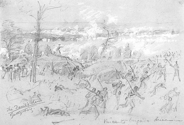 Artist Alfred Waud sketched this chilling image of Union troops (right) retreating from Confederate troops (left) swarming into the boulder-strewn Devil's Den at Gettysburg on Thursday, July 2, 1863. The Union troops could be from the 4th Maine Infantry Regiment, which defended the den against overwhelming odds.
