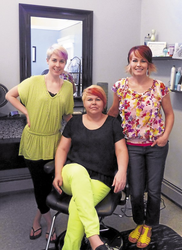 Among the experienced staffers at Aqua Hair and Tanning Salon in Old Town are (from left) stylist Alaina Violette, office manager-receptionist Paula LaCoute, and owner Toni Sockabasin.