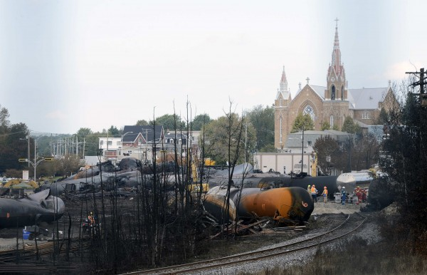 Wagons are pictured on the site of the train wreck in Lac Megantic, July 16, 2013.