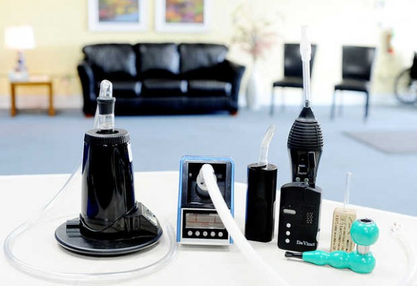 Vaporizers sit on a table at Remedy Compassion Center in Auburn. The devices are a way to inhale medical cannabis without damaging your lungs. &quotWe educate patients on how to consume cannabis that does not harm the body,&quot Jenna Smale said. She and her husband, Tim, founded the center.