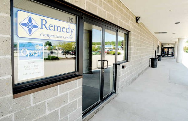 The Remedy Compassion Center occupies a storefront in the Auburn Plaza on Center Street. &quotWe make a distinction between medical cannabis and marijuana,&quot said Tim Smale, who founded it with his wife, Jenna.
