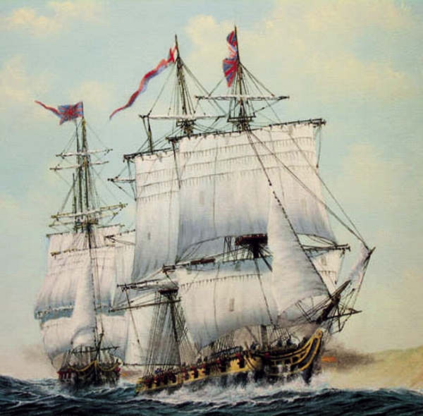The HMS Sylph, with the HMS Maidstone close behind, sails into battle in an image of a painting by Bryan J. Phillips. A gun crew aboard the Sylph fired a cannonball that struck and killed a Bucksport man in Orrington in September 1814.
