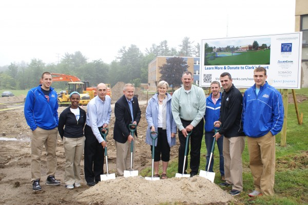 In attendance at the Clark's Court groundbreaking were, from left to right: James Philbrook '14, Sarah Assante '15, Brian Curtin, St. Joseph's College President Jim Dlugos, Christine Noonan, Edward Noonan, Spenser Adams '12, Rob Sanicola '99, and Nicholas Jobin '14.