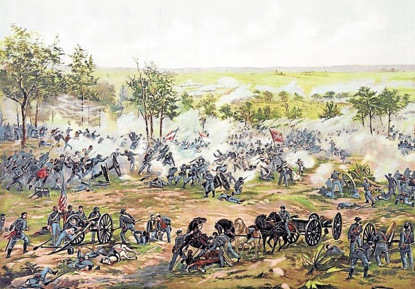 Hand-to-hand combat erupts as Confederate (right) and Union (left) troops collide during the Battle of Gettysburg. Fifteen Maine units were on the battlefield; not all were present during the fighting on Wednesday, July 1, 1863. The 16th Maine Infantry Regiment was all but wiped out late that afternoon when sacrificed to buy time for retreating Union troops.