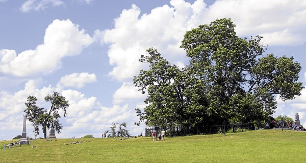 The Copse of Trees on Cemetery Ridge in Gettysburg, Penn. was the target for Confederate infantrymen participating in Pickett's Charge on July 3, 1863. Soldiers from the 19th Maine Infantry Regiment fought with Confederate troops in the area between the trees and the two monuments on the left.