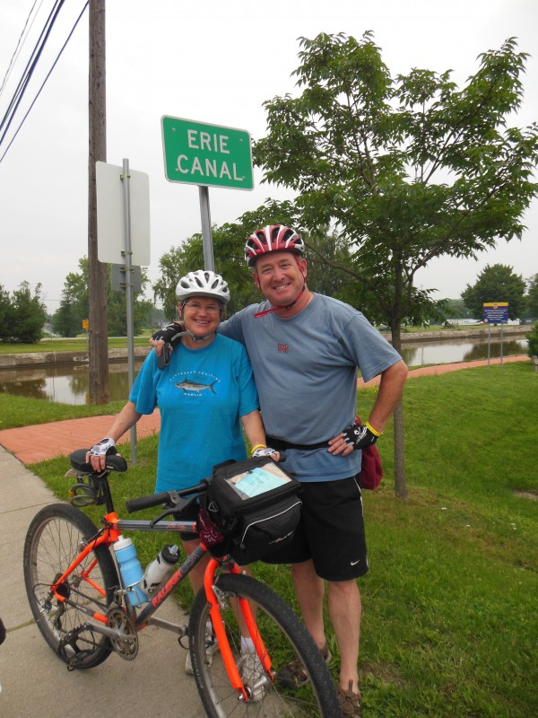 Castine resident Jeffrey Taub, right, and his sister, Gretchen Pulver, along the Erie Canal in upstate New York.